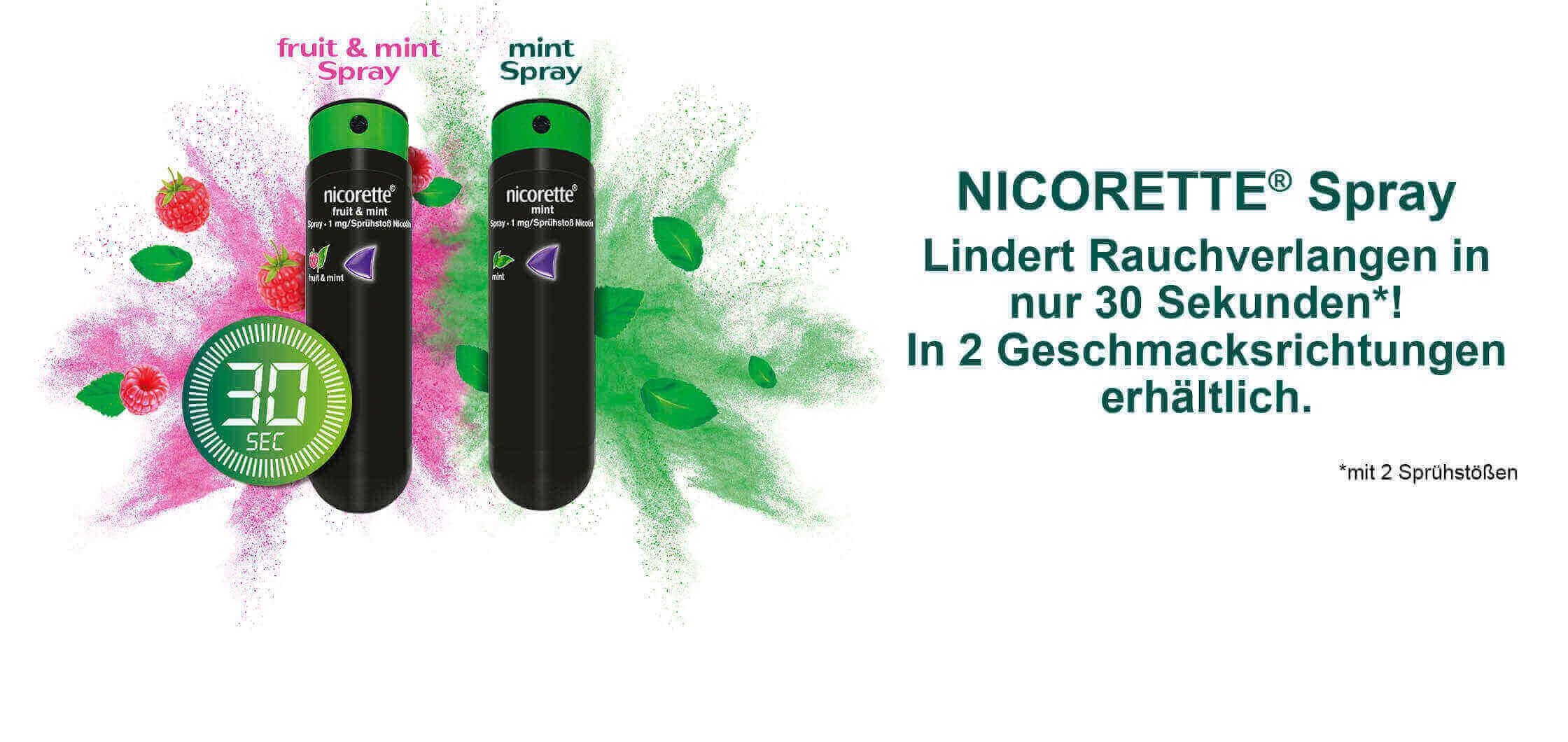 Spray banner nicorette spray_mit dem Rauchen aufhören in 30 Sekunden