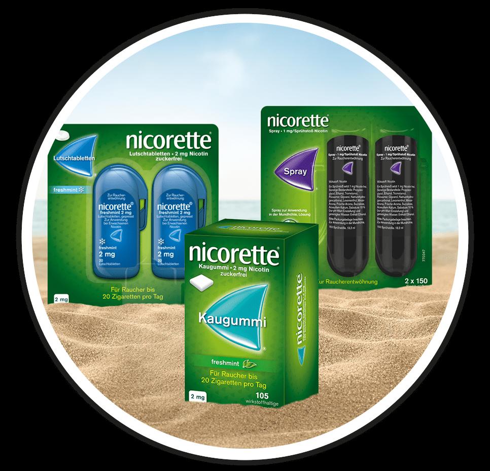 Nicorette Kaugummi und Spray für den Urlaub